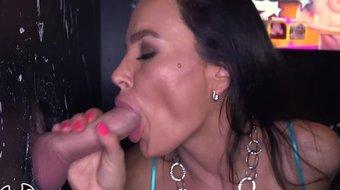BANGBROS - Big Tit MILF Lisa Ann Milking Multiple Big Cocks In Dank Glory Hole