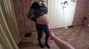 A pregnant student takes the test of a mature lesbian teacher who fucked the girl in her hairy pussy. POV.