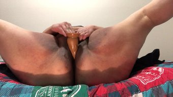 Slut almost gets caught playing with dildo