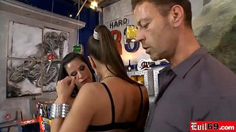 Rocco fucks two hot brunette whores from ass to mouth