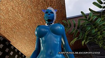 Fantasy Blue Virtual 3D Alien With Big Tits Sucks And Rides A Hard Cock!