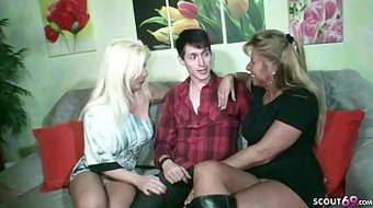 German STEP MOM and AUNT Fuck Son Togehter at Family Time