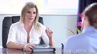 Blonde secretary gets her butthole ravished