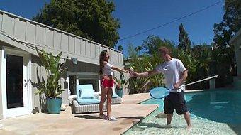 DON'T FUCK MY DAUGHTER - Latin Teen Nina North Fucks Pool Man Bill Bailey