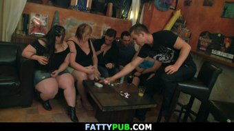 Huge tits group sex party in the pub