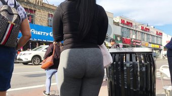 Lovely Round Booty Latina Teen in Grey Spandex