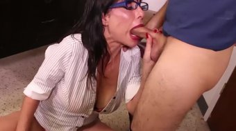 Lucky SOB gets a blowjob from his big boob school teacher