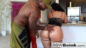 BBW babes take turns taking care of a big black cock
