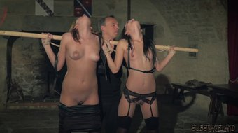 Submissive slaves tied up with rope get fetish sex and punishment