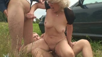 picked up hot blonde sexy woman 3some-fucked in the fields