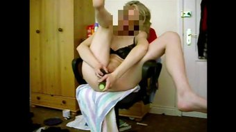 Hot blonde cucumber in her ass, feet up 1