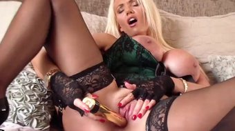 hot blonde milf lucy zara plays with big tits fuck pussy dildo in lingerie