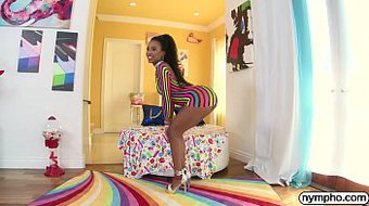 NYMPHO Ebony babe Demi Sutra fucked by a big cock