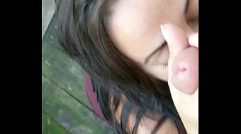 Outdoor sucking and tittyfuck with mature MILF with tattoos